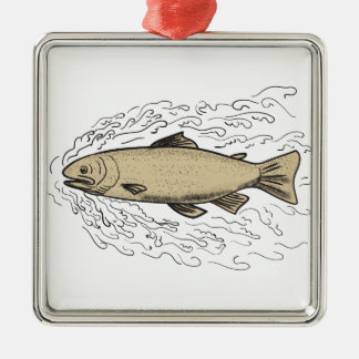 Brown Trout Waves Tattoo Metal Ornament