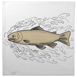 Brown Trout Waves Tattoo Napkin