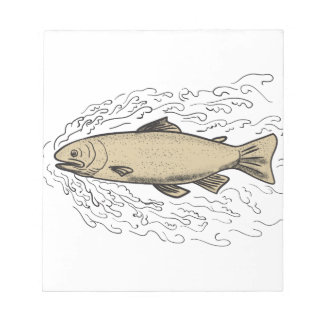 Brown Trout Waves Tattoo Notepad