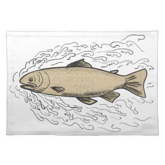 Brown Trout Waves Tattoo Placemat
