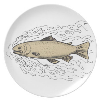 Brown Trout Waves Tattoo Plate
