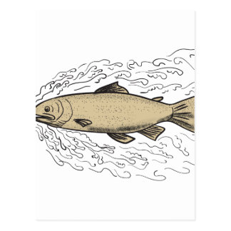 Brown Trout Waves Tattoo Postcard
