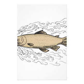 Brown Trout Waves Tattoo Stationery