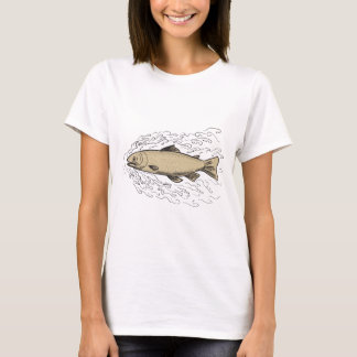 Brown Trout Waves Tattoo T-Shirt