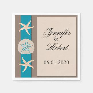 Brown Turquoise Band Wedding Napkin