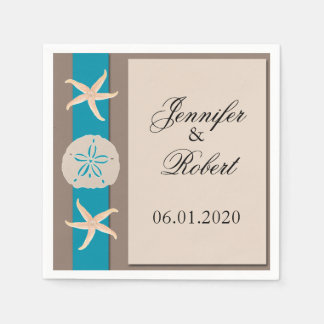 Brown Turquoise Band Wedding Napkin Paper Napkins