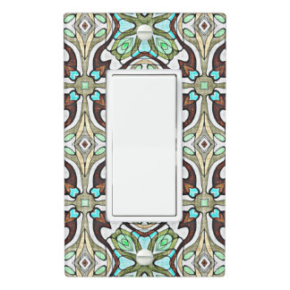 Brown Turquoise Blue Retro Nouveau Deco Pattern Light Switch Cover