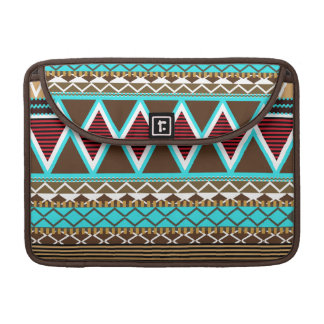 Brown & Turquoise Modern Tribal Macbook Pro Flap S Sleeve For MacBooks