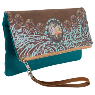 brown turquoise western country tooled leather clutch
