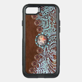 brown turquoise western country tooled leather OtterBox commuter iPhone 8/7 case