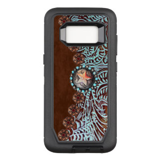 brown turquoise western country tooled leather OtterBox defender samsung galaxy s8 case