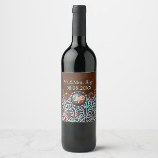 brown turquoise western country tooled leather wine label