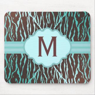 Brown & Turquoise Zebra Stripes Monogram Mousepad