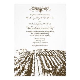 Brown Tuscan Winery Vineyard Wedding Invitations