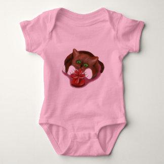 Brown Tuxedo Kitten Attacks Heart Box of Chocolate Baby Bodysuit