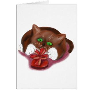 Brown Tuxedo Kitten Attacks Heart Box of Chocolate Card