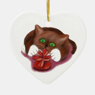 Brown Tuxedo Kitten Attacks Heart Box of Chocolate Ceramic Heart Ornament
