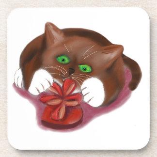 Brown Tuxedo Kitten Attacks Heart Box of Chocolate Drink Coasters