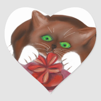Brown Tuxedo Kitten Attacks Heart Box of Chocolate Heart Sticker