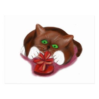 Brown Tuxedo Kitten Attacks Heart Box of Chocolate Postcard