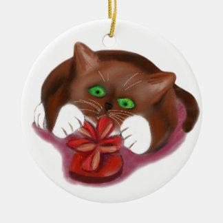 Brown Tuxedo Kitten Attacks Heart Box of Chocolate Round Ceramic Ornament