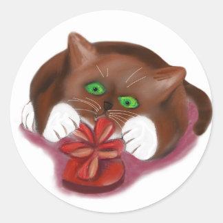 Brown Tuxedo Kitten Attacks Heart Box of Chocolate Round Sticker