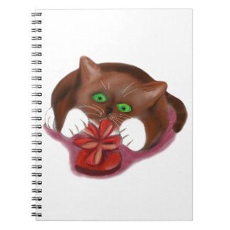 Brown Tuxedo Kitten Attacks Heart Box of Chocolate Spiral Notebooks
