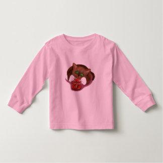 Brown Tuxedo Kitten Attacks Heart Box of Chocolate Toddler T-shirt
