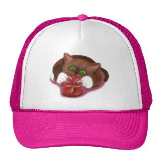 Brown Tuxedo Kitten Attacks Heart Box of Chocolate Trucker Hat