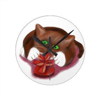 Brown Tuxedo Kitten Attacks Heart Box of Chocolate Wall Clock