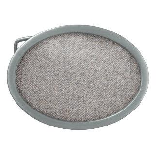 Brown tweed fabric oval belt buckles
