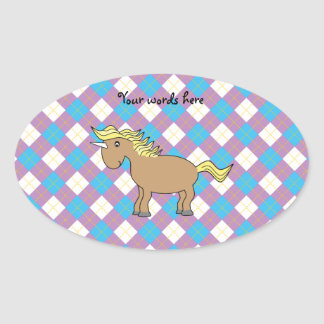 Brown unicorn on purple and blue argyle background oval sticker