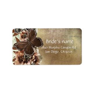 Brown Vintage Damask Butterfly Address Label
