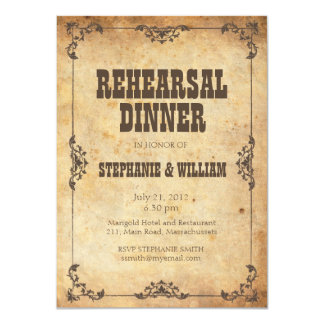 Brown Vintage Floral Rehearsal Dinner Card