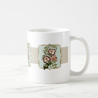 Brown Vintage Flowers Wide Coffee Mug