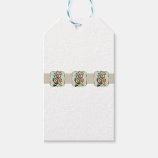 Brown Vintage Flowers Wide Gift Tags