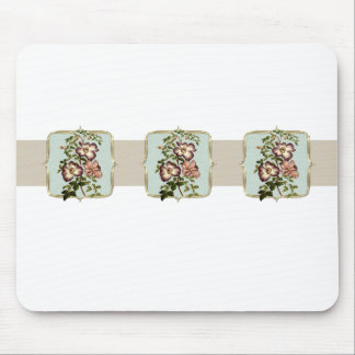 Brown Vintage Flowers Wide Mouse Pad