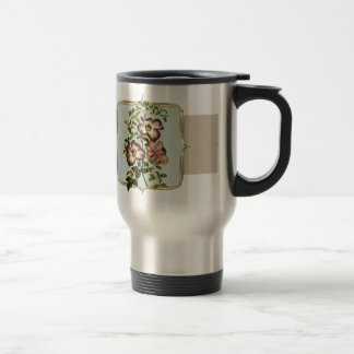 Brown Vintage Flowers Wide Travel Mug