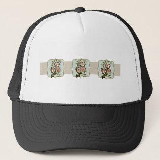 Brown Vintage Flowers Wide Trucker Hat