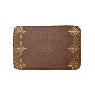 Brown Vintage Leather & Gold Swirly Frame Bath Mat