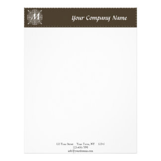 Brown Vintage Monogram Business Letterhead
