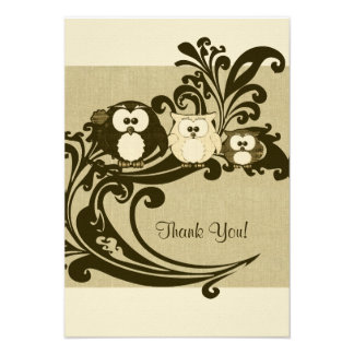 Brown Vintage Owl Family Thank You Notes Invites