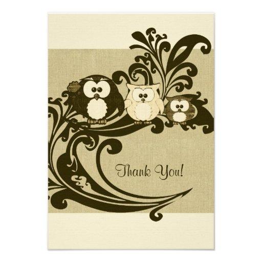 Brown Vintage Owl Family Thank You Notes Invites