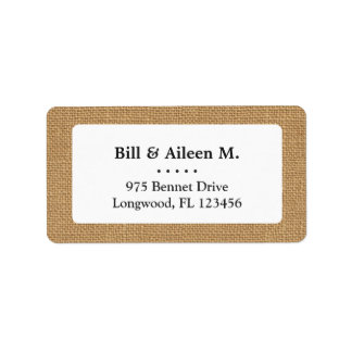 Brown vintage rustic burlap texture label