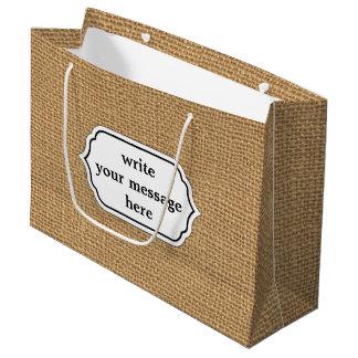 Brown vintage rustic burlap texture large gift bag