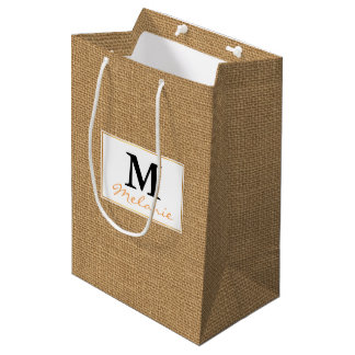 Brown vintage rustic burlap texture medium gift bag