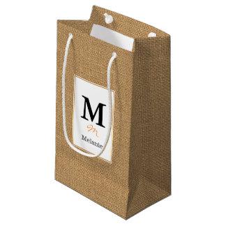 Brown vintage rustic burlap texture small gift bag