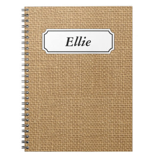 Brown vintage rustic burlap texture spiral notebook