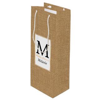 Brown vintage rustic burlap texture wine gift bag