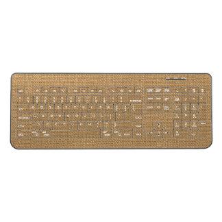 Brown vintage rustic burlap texture wireless keyboard